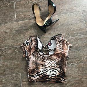 BEBE leopard crop top
